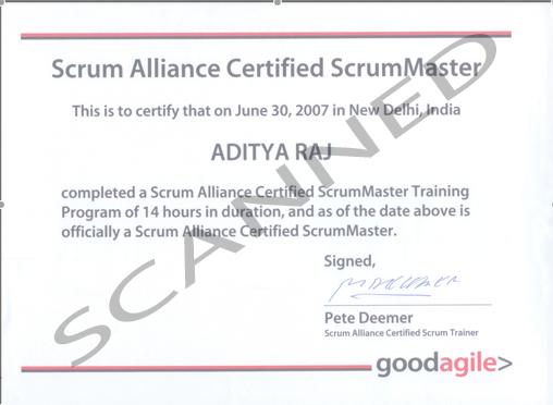 Aditya's Scrum Master Certificate